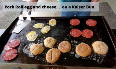 Pork roll egg and cheese on a kaiser bun – on the Blackstone Griddle