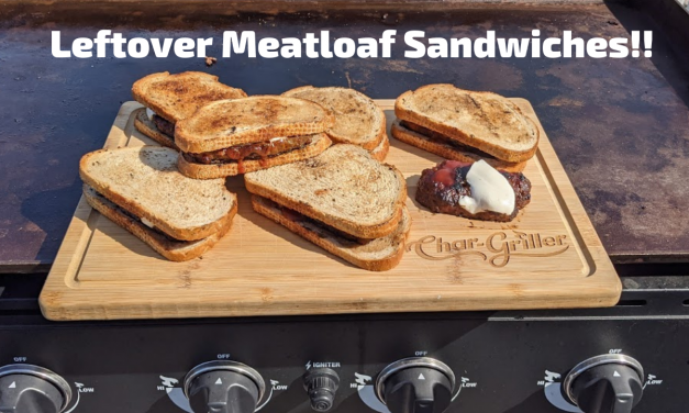 Leftover Meatloaf sandwiches on rye toast on the Char-Griller Flat Iron Griddle