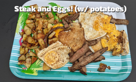 Steak and Eggs (and potatoes) for dinner on the Char-Griller Flat Iron Griddle!